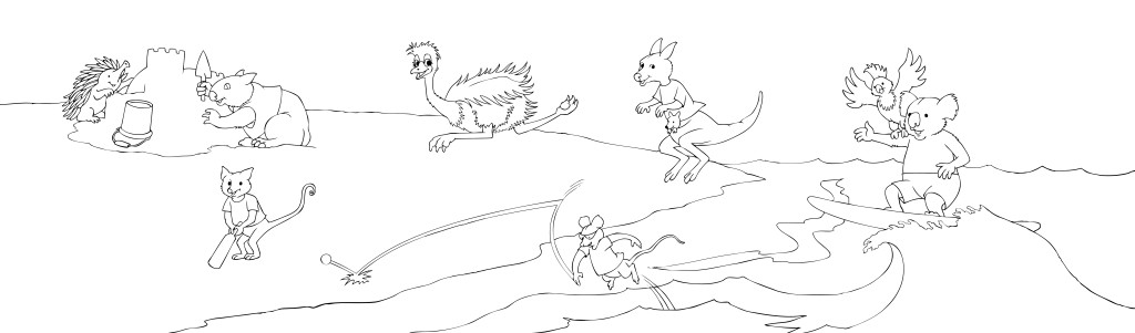 Magical Mountains Animals on the beach sketch