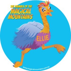 Ellie Emu blue circle sticker - The Animals of The Magical Mountains