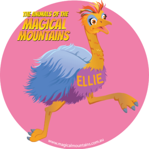 Ellie Emu pink circle sticker - The Animals of The Magical Mountains