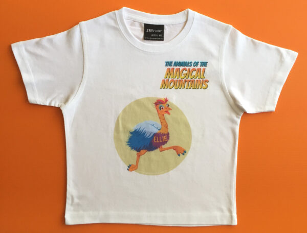 Ellie Emu blue text t-shirt - The Animals of The Magical Mountains