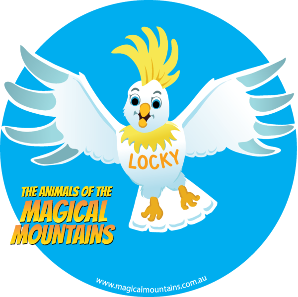 Locky Cocky circle sticker - The Animals of The Magical Mountains