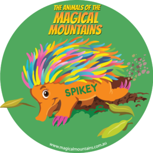 Spikey Echidna green circle sticker - The Animals of The Magical Mountains