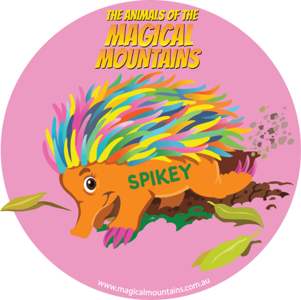 Spikey Echidna pink circle sticker - The Animals of The Magical Mountains