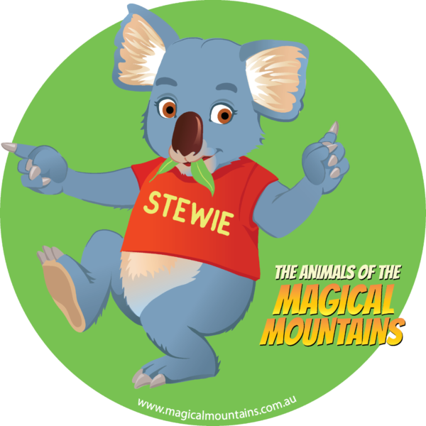 Stewie Koala green circle sticker - The Animals of The Magical Mountains
