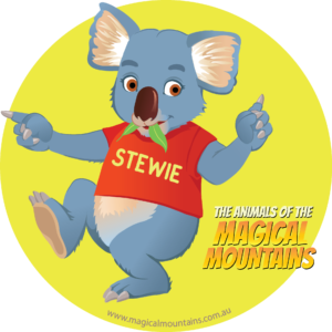 Stewie Koala yellow circle sticker - The Animals of The Magical Mountains