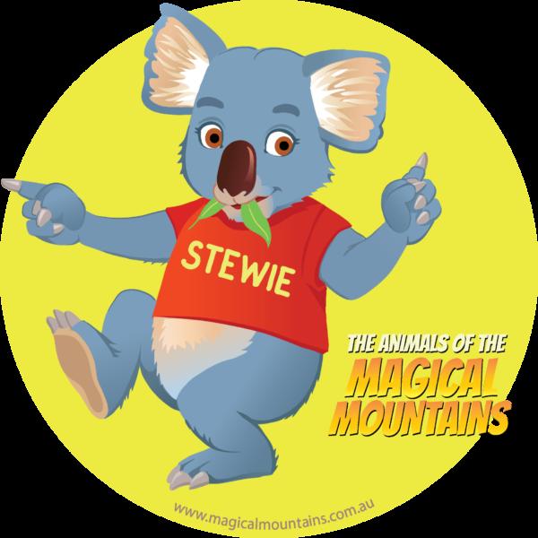 Stewie Koala yellow circle sticker - The Animals of The Magical Mountains