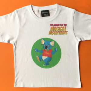 Stewie Koala pink title t-shirt - The Animals of The Magical Mountains