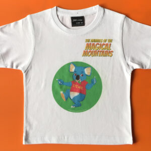 Stewie Koala yellow title t-shirt - The Animals of The Magical Mountains