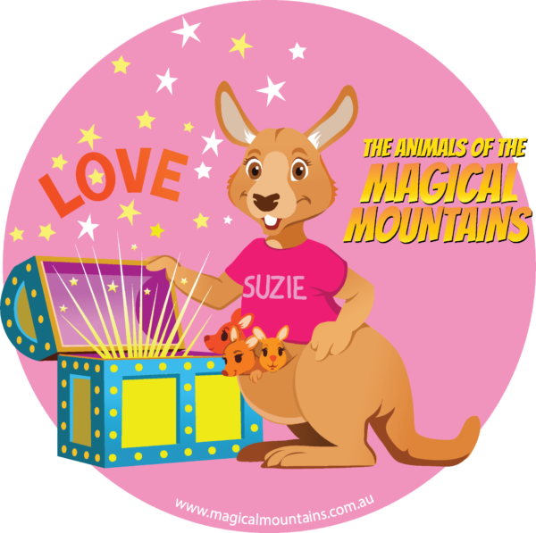 Suzie Roo Treasure Chest circle sticker - The Animals of The Magical Mountains