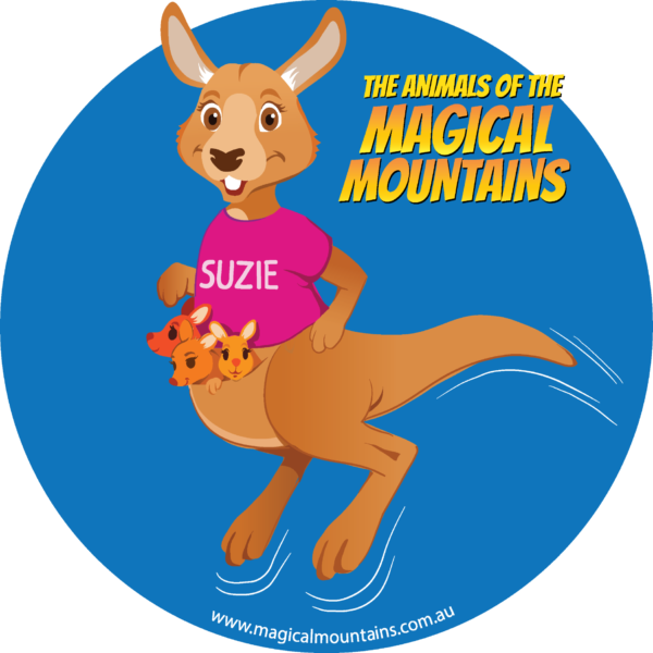 Suzie Roo blue circle sticker - The Animals of The Magical Mountains