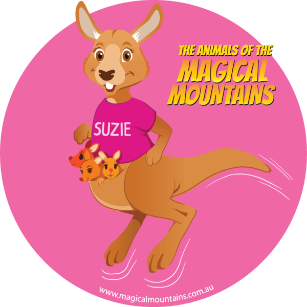 Suzie Roo pink circle sticker - The Animals of The Magical Mountains