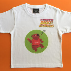 Willy Wombat green circle red title t-shirt - The Animals of The Magical Mountains